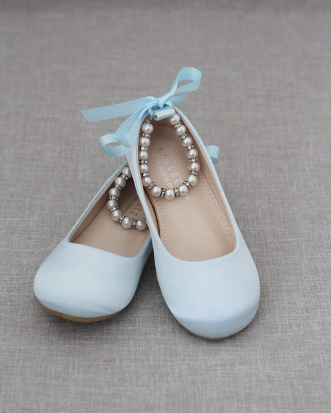 LIGHT BLUE Satin Flats with Pearls Ankle Strap