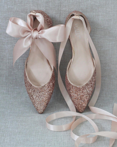 ROSE GOLD Rock Glitter Pointy Toe Flats with Satin Ankle Tie or Ballerina Lace Up