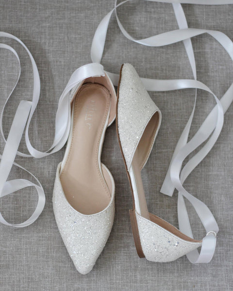 WHITE Rock Glitter Pointy Toe Flats with Satin Ankle Tie or Ballerina Lace Up