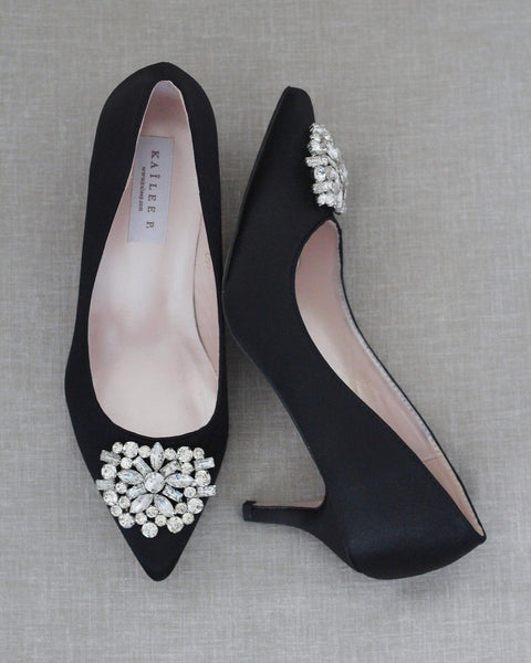BLACK Satin Kitten Heel with Oversized Brooch