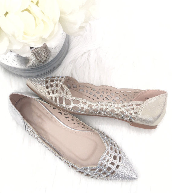 Women GOLD Pointy Toe Flats with Rhinestones Embellishments ,Women Shoes- Kailee P
