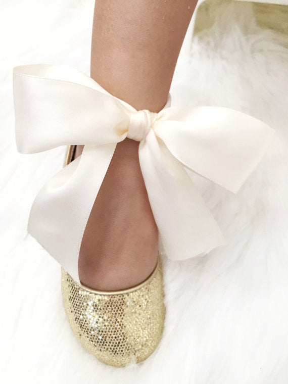... Infant girl shoes - GOLD disco glitter ballet flats with satin ribbon  lace up  c50cef026