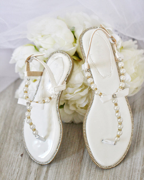 8df9154e96f74e Girls Pearl Flat Sandals - White Pearls   Rhinestones T-strap Embellished Flat  Sandals