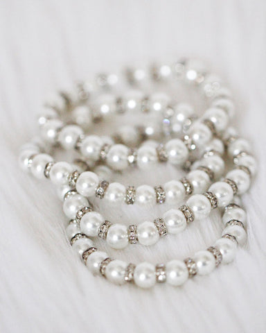 Ivory Pearls with Silver Rhinestone Bracelet ,Hair Clips- Kailee P