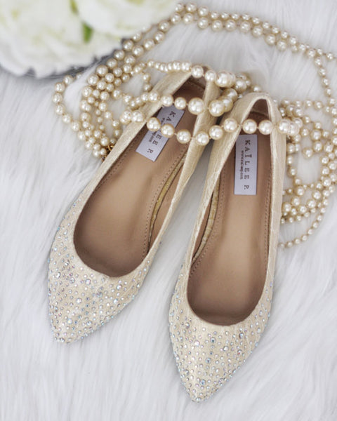 Women Gold Pointy Toe Lace Flats with Rhinestones Embellishments ,Women Shoes- Kailee P