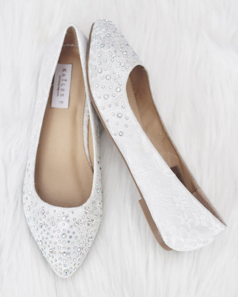 Women White Pointy Toe Lace Flats with Rhinestones Embellishments ,Women Shoes- Kailee P