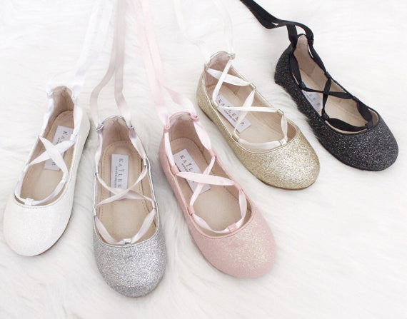 ... Infant   Toddler girl shoes -SOFT GOLD fine glitter ballerina flats  with satin ribbon lace 11648f542