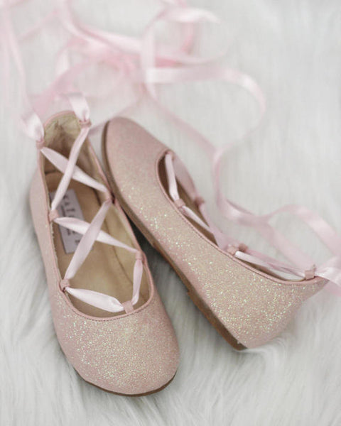 girls light pink lace up shoes