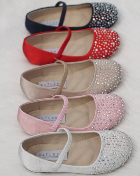 girls Mary Jane shoes with rhinestones