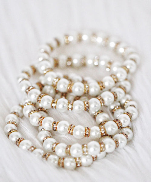 Ivory Pearls with Gold Rhinestone Bracelet ,Hair Clips- Kailee P