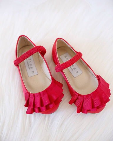 Girls Shoes - Red Satin Maryjane Flats With Ruffles ,Kids Shoes- Kailee P