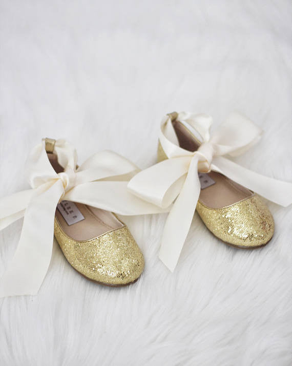 Infant girl shoes - GOLD disco glitter ballet flats with satin ribbon lace up ,Kids Shoes- Kailee P