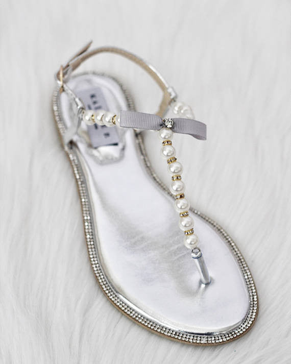 b25e679da65 Women Flat Sandals - T-Strap SILVER Pearl Sandals With Rhinestones  Embellishments