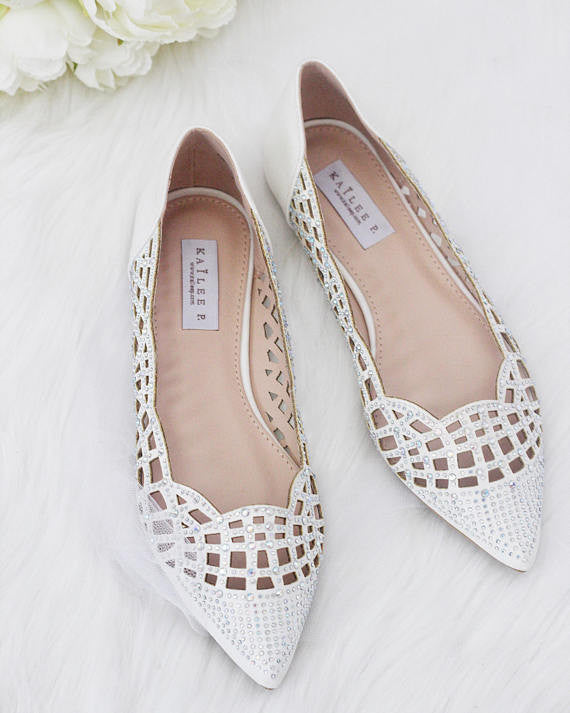 Women WHITE Pointy Toe Flats with Rhinestones Embellishments ,Women Shoes- Kailee P