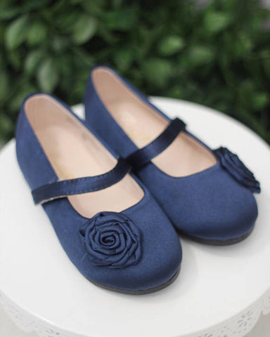 NAVY Satin Mary Jane Flats With Rosette