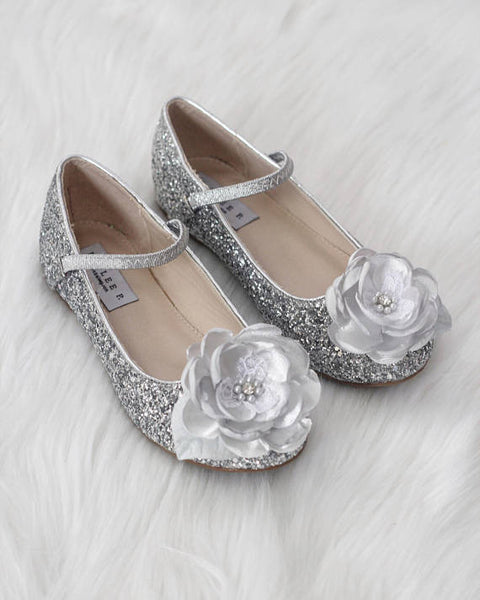 Girls shoes SILVER Rock Glitter Maryjane Flats With Silk Flower ,Kids Shoes- Kailee P