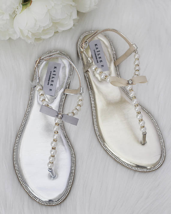 7d6a332cca3e ... Women Flat Sandals - T-Strap SILVER Pearl Sandals With Rhinestones  Embellishments