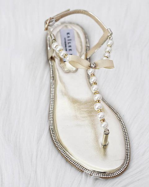 Women Flat Sandals - T-Strap SILVER Pearl Sandals With Rhinestones Embellishments ,Women Shoes- Kailee P