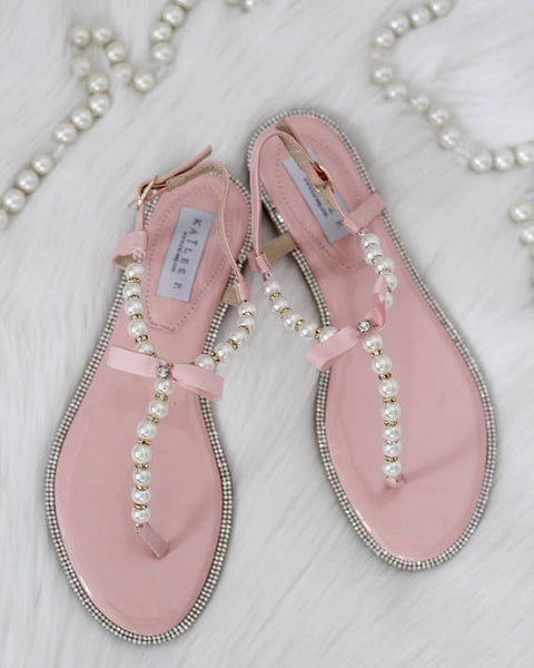 Women Flat Sandals - T-Strap CORAL Pearl Sandals With Rhinestones Embellishments ,Women Shoes- Kailee P