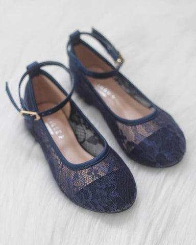 Girls Shoes - Navy New Lace Ballet Flats With Ankle Strap ,Kids Shoes- Kailee P