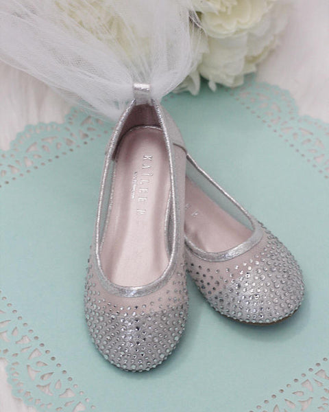 silver ballet flats with tulle