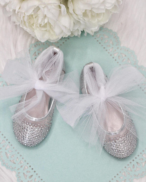 girls silver ballet flats with tulle