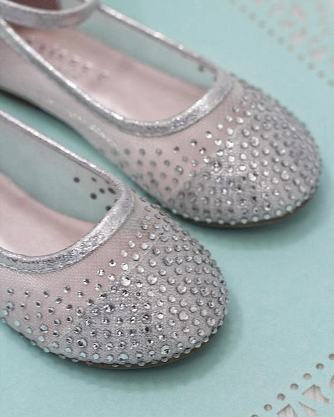 girls silver flats with rhinestones