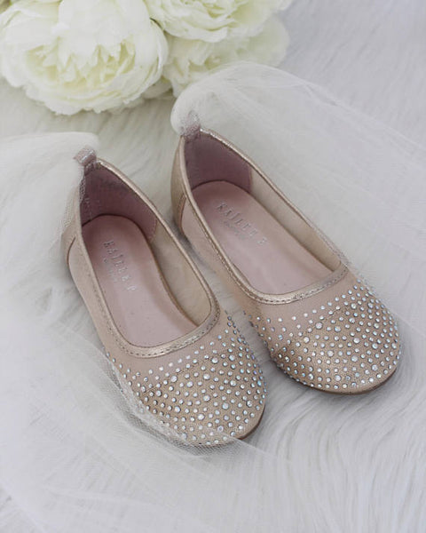 Girls Shoes -  GOLD Mesh Flats With Rhinestones & Tulle ,Kids Shoes- Kailee P