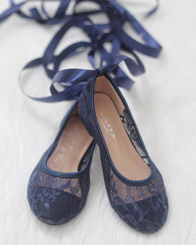 Girls Shoes - Ballerina NAVY New Lace Flats With Satin Ribbon Lace Up ,Kids Shoes- Kailee P