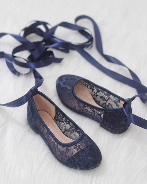 girls navy ballet shoes