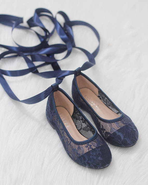 3ec6a2148ea4 ... Girls Shoes - Ballerina NAVY New Lace Flats With Satin Ribbon Lace Up