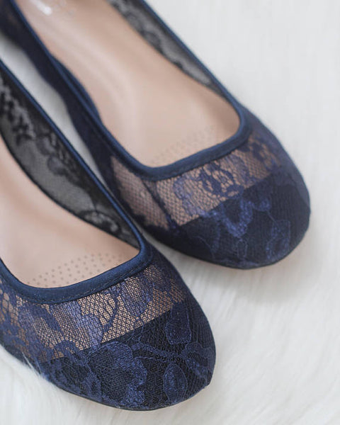 navy lace flats