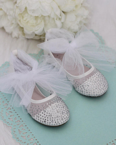 Girls Shoes -  WHITE Mesh Flats With Rhinestones & Tulle ,Kids Shoes- Kailee P