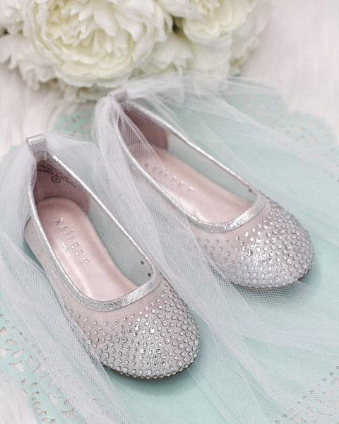 girls silver tulle shoes