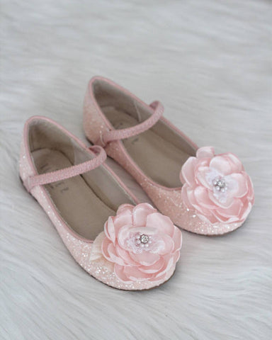 Girls shoes DUSTY PINK Rock Glitter Maryjane Flats With Silk Flower ,Kids Shoes- Kailee P