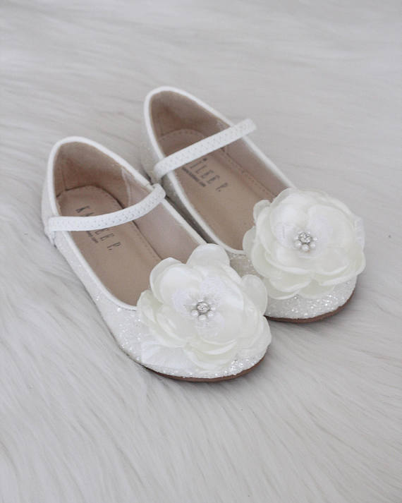 Girls Shoes WHITE Rock Glitter Maryjane Ballet Flats with Silk Flower ,Kids Shoes- Kailee P