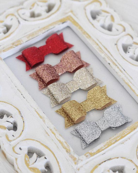 Fine Glitter Bow Hair Clips for girls