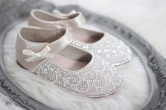 Girls Infant shoes CHAMPAGNE Satin Maryjane Flats With Rhinestones & Pearl ,Kids Shoes- Kailee P