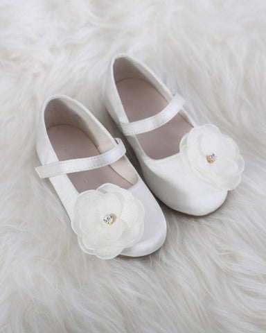 IVORY Satin Maryjane With Silk Flower ,Kids Shoes- Kailee P