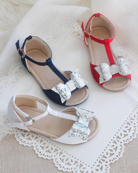 WHITE Satin Sandals with Rock Glitter Bow