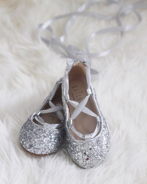 silver glitter ballet shoes