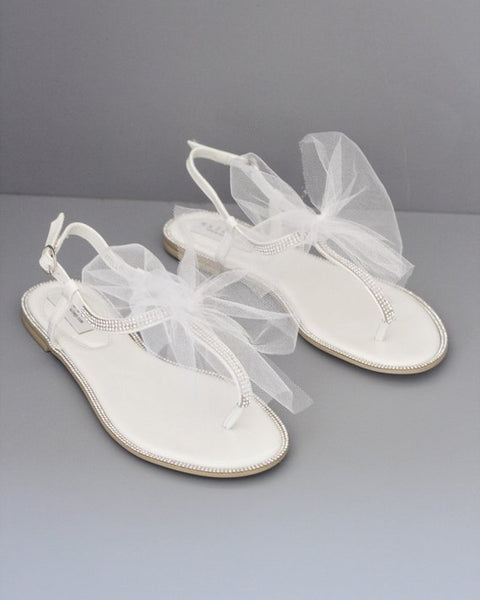 WHITE T-Strap Rhinestones Flat Sandals with Tulle Bow
