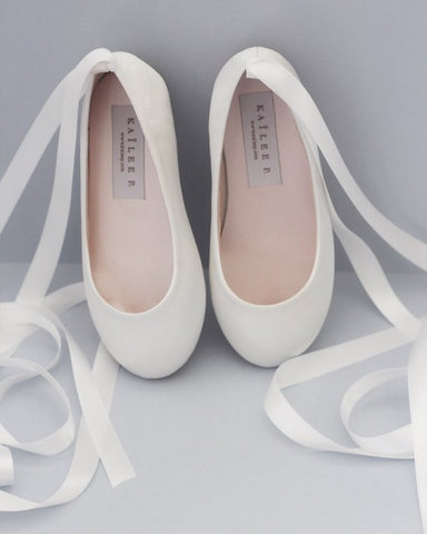 OFF WHITE Satin Ballerina Lace Up