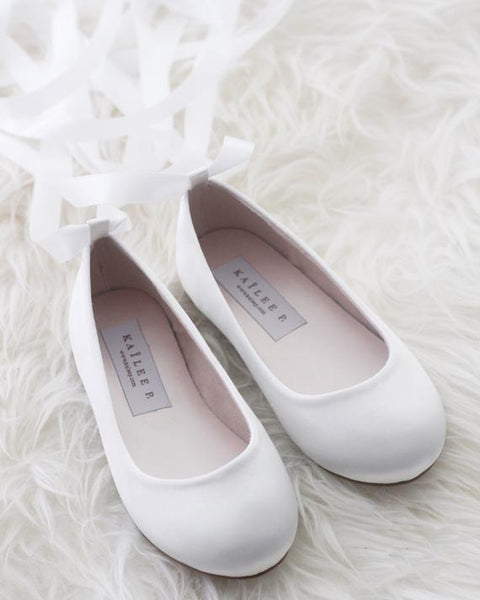 girls off white satin shoes