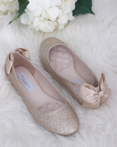 GOLD Fine Glitter Flats with Back Satin Bow