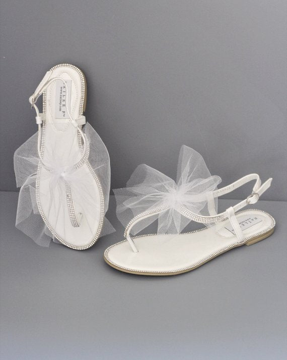be48b27f64b WHITE T-Strap Rhinestones Flat Sandals with Tulle Bow - Women Wedding  Sandals – Kailee P. Inc.
