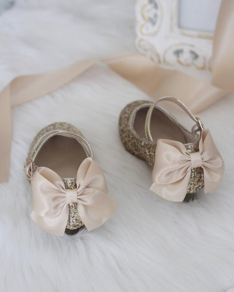 GOLD Rock Glitter Maryjane Heels With Satin Bow