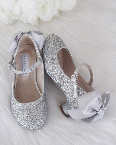 SILVER Rock Glitter Maryjane Heels With Satin Bow