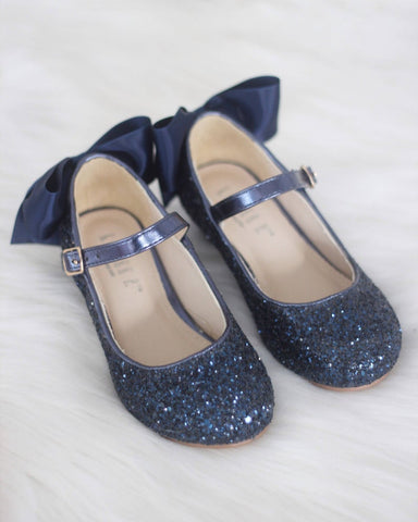 NAVY Rock Glitter Maryjane Heels With Satin Bow