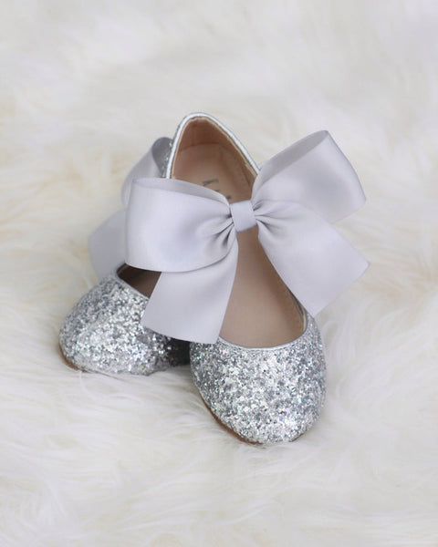 SILVER Rock Glitter Mary Jane with Satin Bow